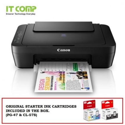 Canon PIXMA E410 Ink Efficient 3 in 1 Multifunction Printer (Print / Scan / Copy) for Low-Cost Printing with Cashback RM50