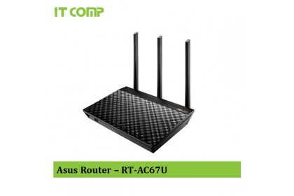 Asus RT-AC67U AC1900 Dual band whole home mesh wifi system for large and multi-story homes, supports flexible SSID setting, wired inter-router connections, AiProtection Pro network security powered by Trend Micro and Adaptive QoS