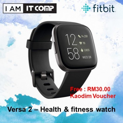 Fitbit Versa 2 Smart Fitness Heart Rate Activity Tracker Health & Fitness Smartwatch (2 sizes Band S & L Included)