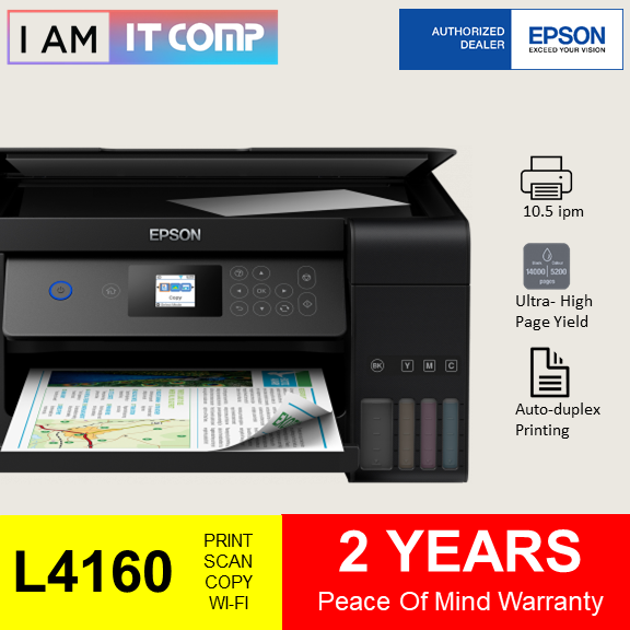 Epson L4160 / L4260 Wi-Fi Duplex All-in-One ( Print / Scan / Copy ) Ink Tank Printer comes with original Ink set