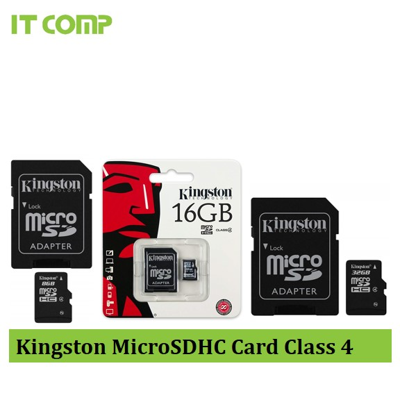Kingston microSDHC Class 4 4R/4W memory card + SD Adapter 8GB/16GB/32GB (SDC4)