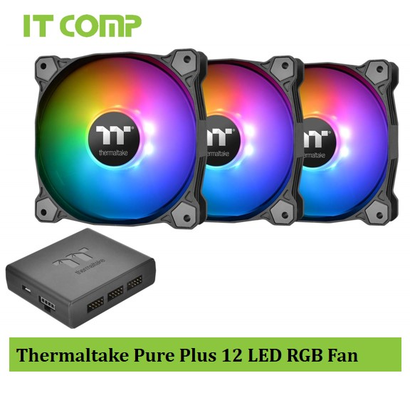 Thermaltake Pure Plus 12 LED RGB Radiator Fan TT Premium Edition (3-Fan Pack) CL-F063-PL12SW-A
